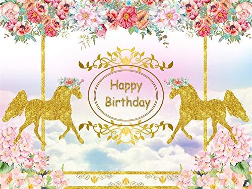 (AOFOTO 8x6ft Golden Horse Carousel Background Happy Birthday Backdrop Party Decoration Whirligig Horses Flowers Banner Sweet Little Princess Baby Girl Bday Celebration Wallpaper Photo Studio)