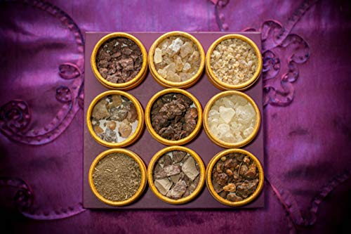 sacred scents for you Resin Incense Variety Sampler Pack/Gift Set,1/2 oz Frankincense-Myrrh-Sweet Myrrh-Copal-White Copal-Benzoin-1/4 oz Dragon's Blood, Palo Santo-1/4 oz Ground White Sage from