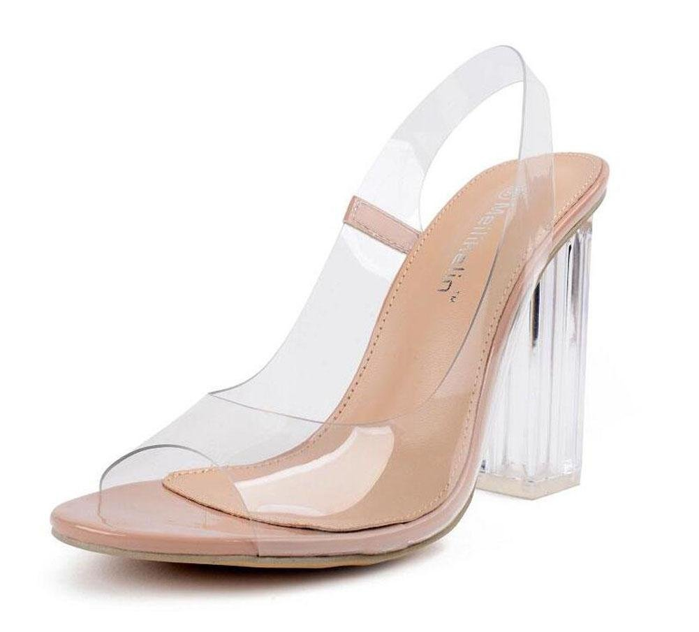 GLTER Mujeres Ankle Strap Bombas Verano Encanto Roma Sandalias Transparente Tacones Altos Gruesos Cristal Zapatos Corte Zapatos Albaricoque , apricot , 36 36|apricot