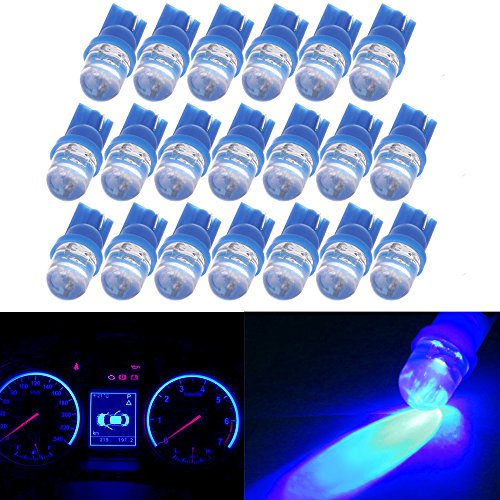 CCIYU QTY(20) Ultra Blue T10 Diode LED Wedge Bulbs Dashboard Panel Gauge Instrument Panel Light 194 168 921