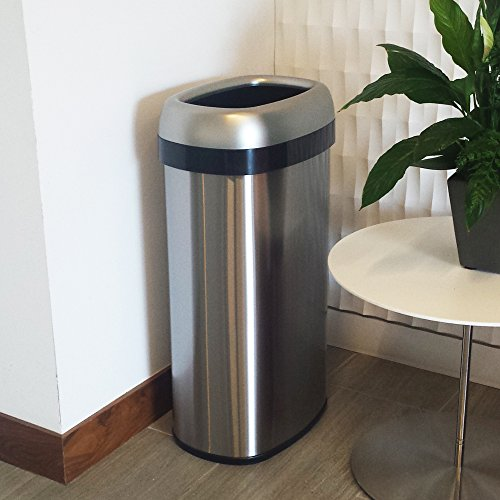 iTouchless 16 Gallon Dual-Deodorizer Oval Open Top Trash Can, Commercial Grade Stainless Steel, 60 Liter Open Garbage Can by iTouchless (Image #5)
