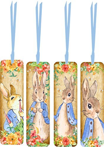 (Easter Peter Rabbit bookmarks with satin ribbon)