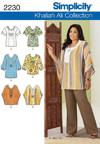 Simplicity Khaliah Ali Collection Pattern 2230 Women's Tunic or Tops with Variations Sizes 10-12-14-16-18 ()