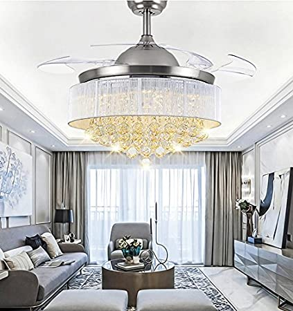 42 modern crystal retractable blades ceiling fan with led light and 42quot modern crystal retractable blades ceiling fan with led light and remote crystal ceiling aloadofball Image collections