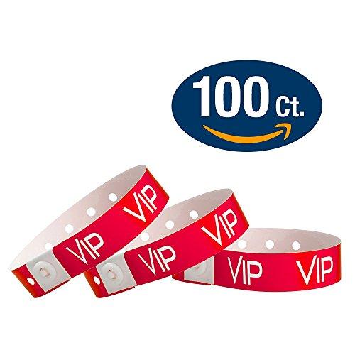 WristCo Neon Red Plastic Wristbands product image