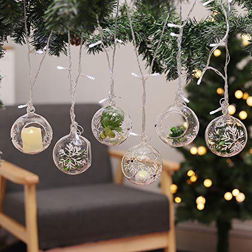 Warmiehomy 6 x Palline di Albero di Natale Appendere Le Palline di Vetro con Il Contenitore di Luce Bianca del tè del Supporto di Luce del Contenitore di Neve 8cm