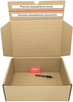 Cajeando | Pack de 10 Cajas de Cartón para Envíos (Caja Boomerang Doble Envío) | Tamaño 35 x 25 x 13 cm | Color Marrón | Permite Hacer Dos Envíos en Uno |