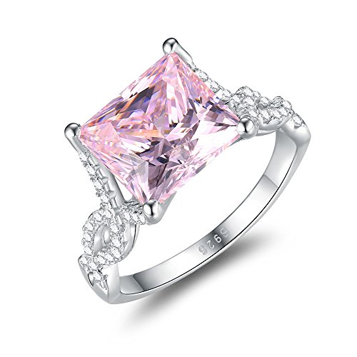 Mozume Women's Princess Cut 5.5ct Pink Cubic Zirconia Ring Engagement Wedding 925 Sterling Silver Cocktail Solitaire (7) Cocktail Princess Ring