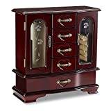 Wooden Upright Jewelry Box Cherry Finish With Etched Glass Window Detailing