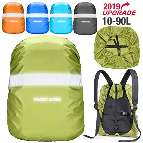 FANCYWING Waterproof Backpack Rain Cover with Reflective Strap, Upgraded 10-90L Non-Slip Rainproof Backpack Cover for Hiking, Camping, Hunting, Rain Cycling, Green