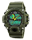 Gosasa Multi Function Military S-shock Sports Watch LED Digital & Analog 5ATM Waterproof Alarm (Green)