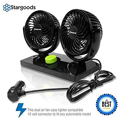 Car Fan with Dual Head 360 Degree Rotation, Variable Speed 12V Auto Air Cooling: Automotive