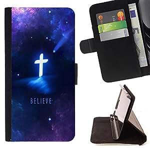 - OMG God Cross Jesus Space - - Monedero PU titular de la tarjeta de cr?dito de cuero cubierta de la caja de la bolsa FOR Samsung Galaxy S5 V SM-G900 Retro Candy