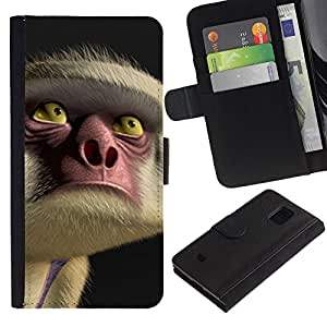 LASTONE PHONE CASE / Lujo Billetera de Cuero Caso del tirón Titular de la tarjeta Flip Carcasa Funda para Samsung Galaxy S5 Mini, SM-G800, NOT S5 REGULAR! / Face Eyes Nose Cartoon