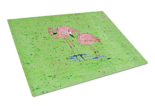 Caroline's Treasures Pink Flamingos on Green Speckle Glass Cutting Board, Large, Multicolor