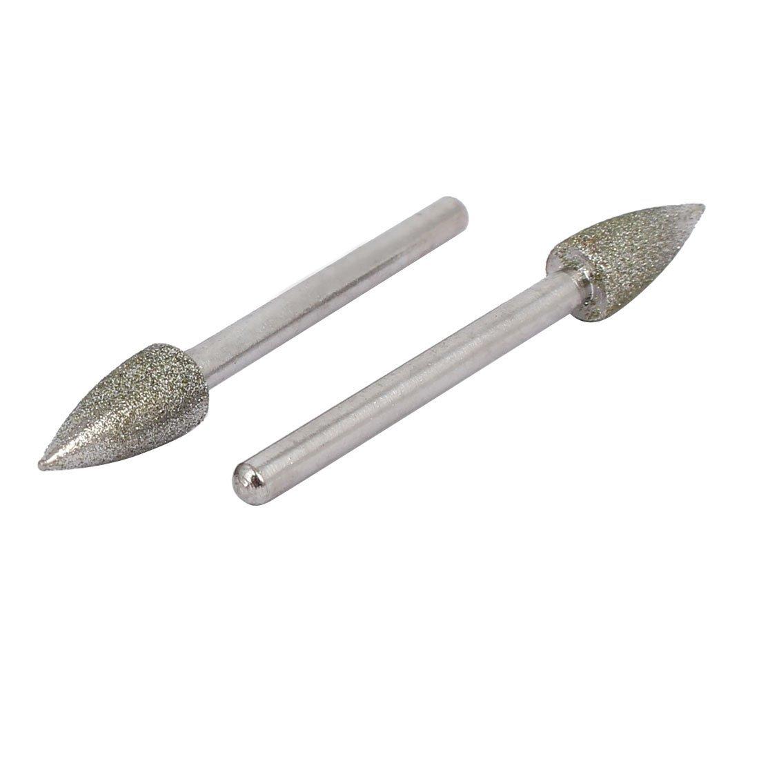 DealMux 3mm 08.01-Zoll-Schaft 6 mm Durchm Kegelkopf Diamant-Schleif Mounted Punkt Bit 5pcs