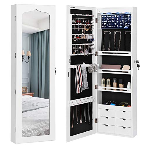 SONGMICS LED Jewelry Cabinet Armoire with 6