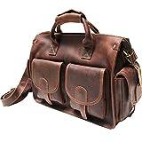 Men's Leather Shoulder Bag Briefcase Handbag Laptop Satchel Messenger Crossbody Bag Organizer Multi-Pocket Sling Bag Brown