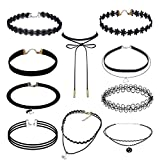 10pcs Velvet Choker Necklace, EveShine Lace Gothic Tattoo Leather Choker Necklace for Women Girls
