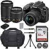 Nikon D3400 24.2MP DSLR Camera with AF-P DX 18-55mm f/3.5-5.6G VR Lens + AF-P DX NIKKOR 70-300mm f/4.5-6.3G ED Lens + 32GB High Speed Memory Card + Camera Carrying Bag + Tripod (Certified Refurbished)
