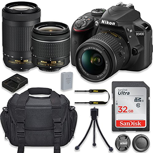 Nikon D3400 24.2MP DSLR Camera with AF-P DX 18-55mm f/3.5-5.6G VR Lens + AF-P DX NIKKOR 70-300mm f/4.5-6.3G ED Lens + 32GB High Speed Memory Card + Camera Carrying Bag + Tripod (Certified Refurbished) Review