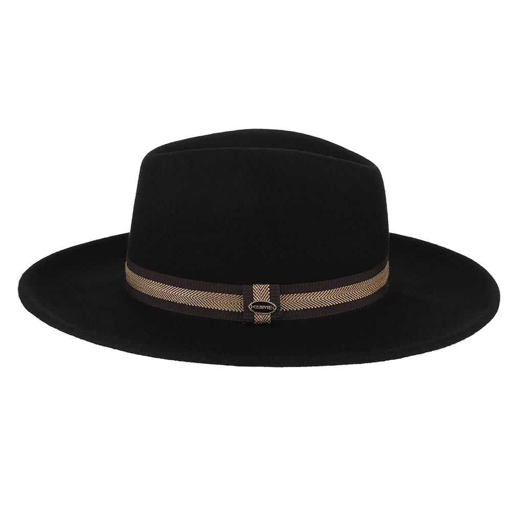GEMVIE Men Vintage Wool Wide Brim Fedora Hat Solid Crushable Trilby Panama Hat with Belt