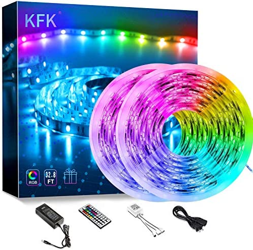 KFK Led Strip Lights 32.8ft Color Changing Led Lights, Remote Control