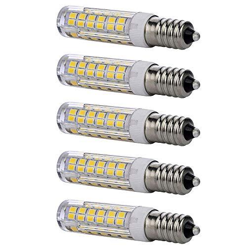 E11 led bulb 75w 100w halogen bulbs replacement, JD T4 e11 mini candelabra base 110V 120V 130 Voltage input light bulbs, pack of 5 (Daylight White 6000K)