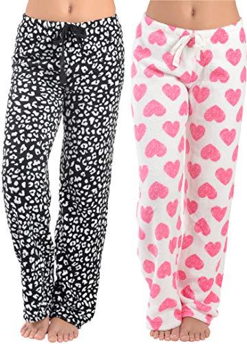 2 Pack: Women's Pajama Plush Super-Soft Fleece Pajama/Lounge Pants (Large, 2 Pack Black Leopard/Big Love Heart)