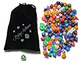 Polyhedral Dice Set of 126 - 18 Colors In Complete Sets Plus One Special Blue Sparkle D20 - Perfect For Dungeons and Dragons DnD RPG Games - Black Velvet Bag Included