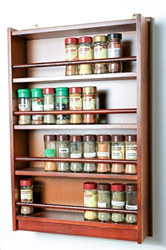 Spice Rack - Wooden - Enclosed Top - 4 Tiers - Wooden Bar - Store 72 regular spice and herb jars - Dark - Fabian 4