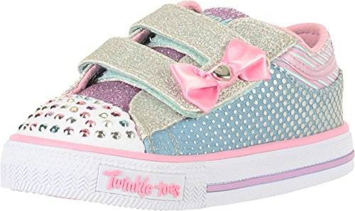 Skechers Kids Baby Girl's Twinkle Toes - Shuffles 10805N Lights (Toddler/Little Kid) Denim/Pink Trim 10 Toddler - Hook Em Up
