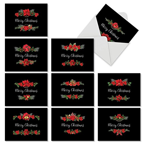 Assorted Boxed of 10 Christmas Note Cards 'Holiday Elegance' 4 x 5.12 inch - Floral Designs and a Merry Christmas Message w/Envelopes - Happy Holidays, Seasons Greeting and Xmas Gift M4175XSG-B1x10 (Happy Merry Xmas)