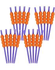 COM-FOUR® 20x flexibele rietjes met pompoenmotieven - drinkrietjes voor carnaval, Halloween of kinderfeestjes