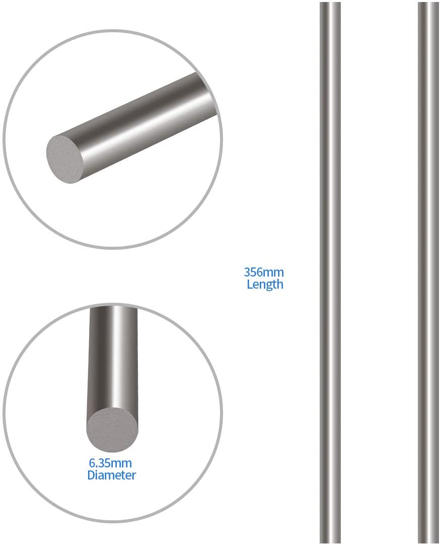 """Bar Round  304   6/""""  Long 2 Pcs 3 MM  Stainless Steel Rod"""