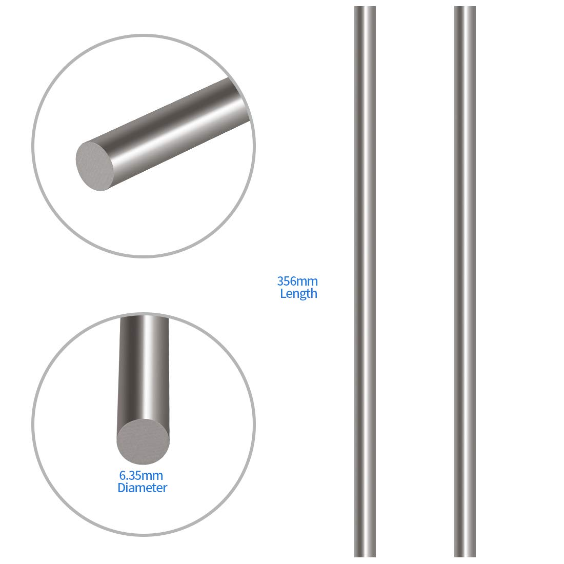 Model Ship RC Helicopter Airplane Glarks 2Pcs 6.35mm x 356mm Stainless Steel Straight Solid Metal Round Rod Lathe Bar Stock for DIY RC Model Car 6.35mmx356