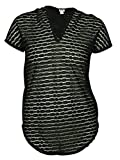Jordan Taylor Womens Sheer Burnout Striped Swimsuit Cover Up Dress Black, Medium