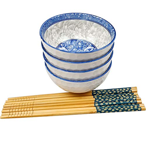 Chinese Porcelain Soup/Rice Bowls and Chopsticks Set of 4 for Rice Soup Oatmeal, Blue and White Porcelain Cereal Bowls with Delicate Box As a Christmas Gift