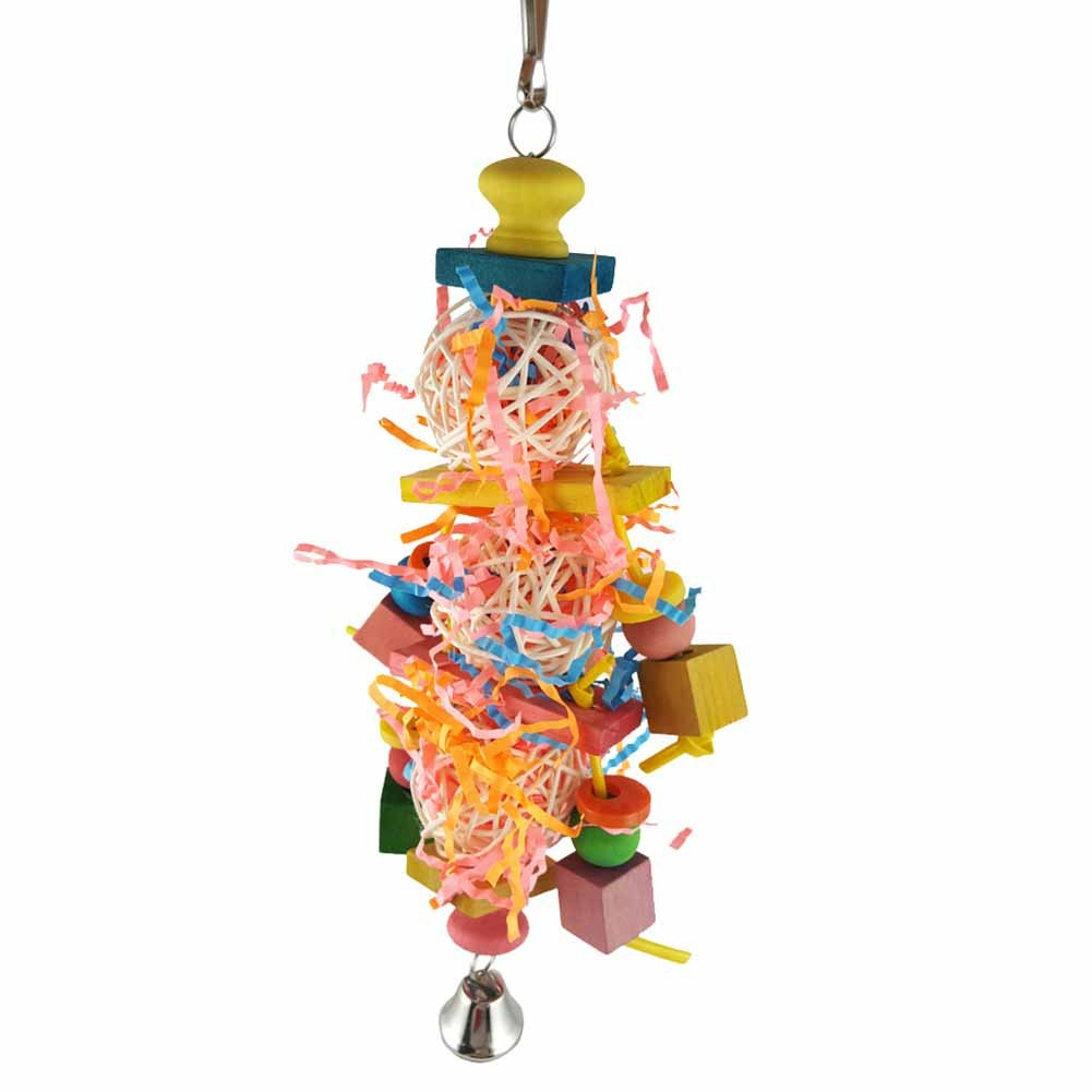 BUYITNOW Birds Foraging Ball Toys Parrot Chewing Shredder with Bell for African Greys Cockatiel