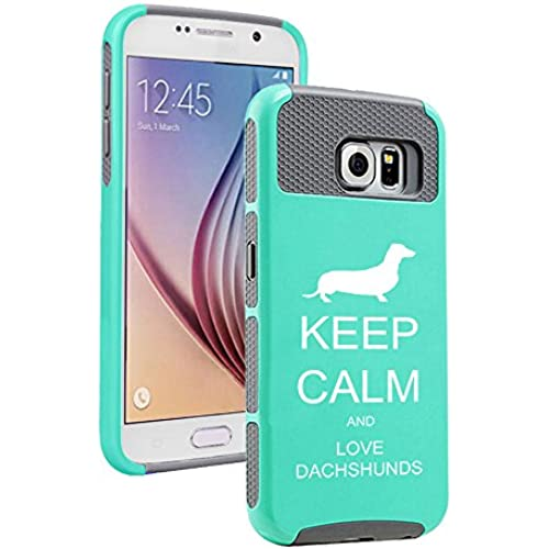 Samsung Galaxy S7 Edge Shockproof Impact Hard Case Cover Keep Calm and Love Dachshunds (Teal-Grey ) Sales