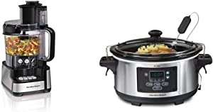 Hamilton Beach 12-Cup Stack & Snap Food Processor & Vegetable Chopper, Black & Portable 6-Quart Set & Forget Digital Programmable Slow Cooker With Temperature Probe, Lid Lock, Stainless Steel