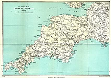 SOUTH WEST ENGLAND: Touring map of Devon & Cornwall. WARD LOCK;1952 on