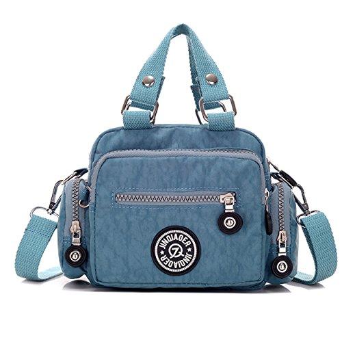 Tiny Chou Mini Solid Color, in Nylon impermeabile, Borsetta a tracolla per bambine & donna Light Blue
