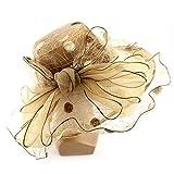 Anti UV Women Church Derby Hat Wide Brim Flower Sun Hat (Gold)