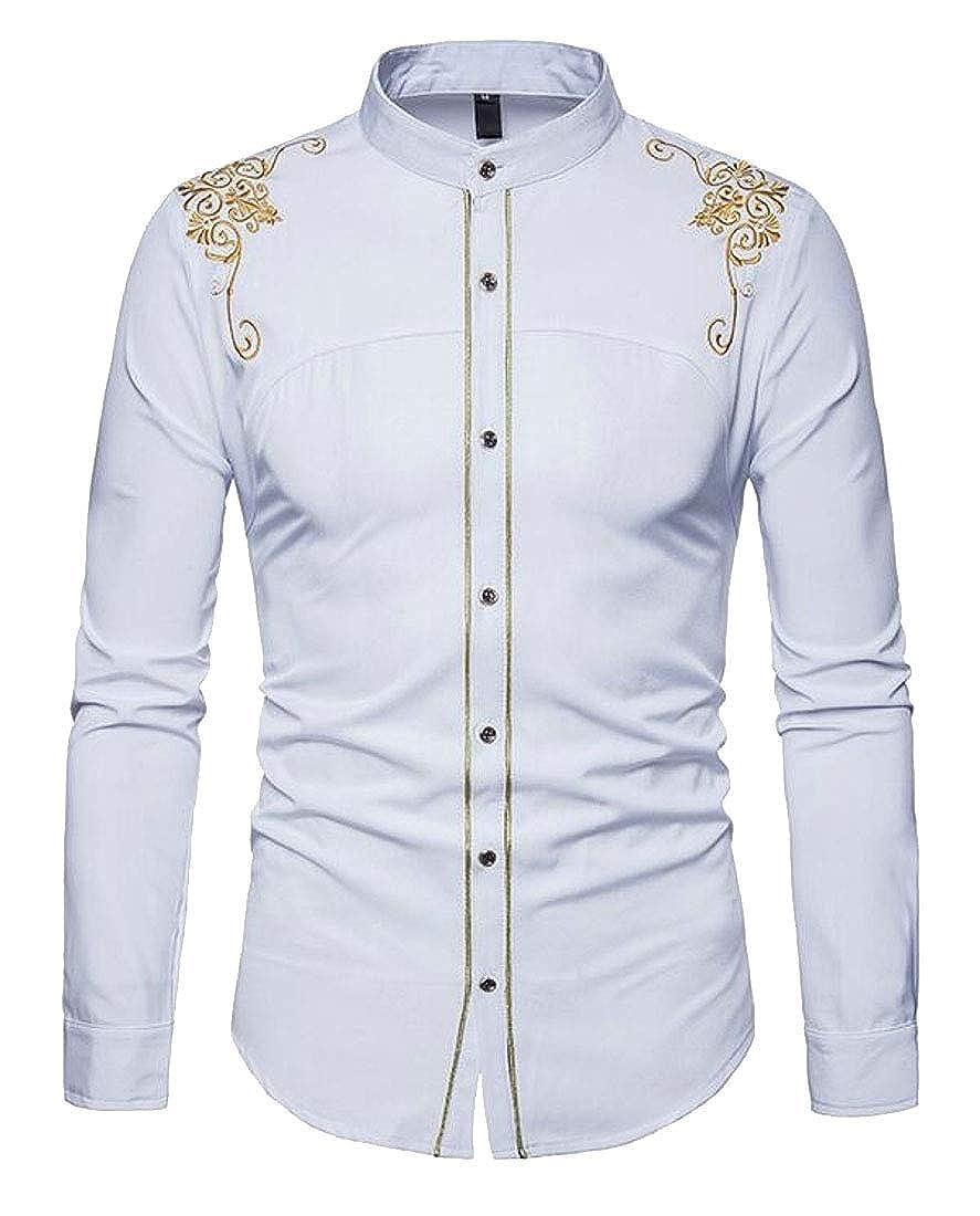 YYG Men Embroidery Long Sleeve Regular Fit Formal Button Down Dress Work Shirt