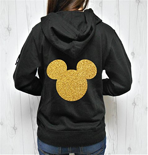 SGC Women's Glitter Mouse Head Hoodie, Mouse Head Zip-Up, Mouse Head Jacket]()