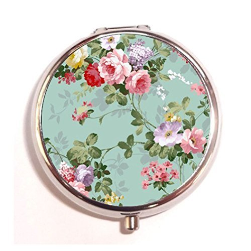 Floral Vitamin - Vintage Floral Custom Round Silver Pill Box Pocket 2.1 inches Medicine Tablet Holder Organizer Case for Purse