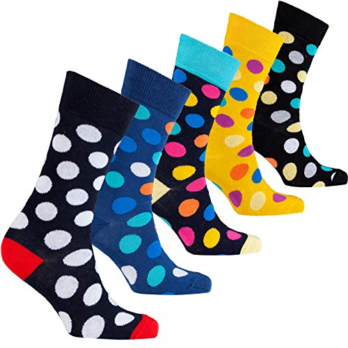 Socks n Socks-Men's 5-pair Luxury Cotton Polka Dot Cool Dress Socks Gift Box