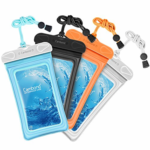 Cambond Waterproof Phone Pouch, Anti-break Lanyard, IPX8, Clear TPU, Fit for iPhone X/8/8P/7/7P, Samsung Galaxy S9/S8/S8P/Note 8, Google Pixel/HTC/LG, Up to 6.0, Cruise Ship Kayak Accessories, 4 Pack