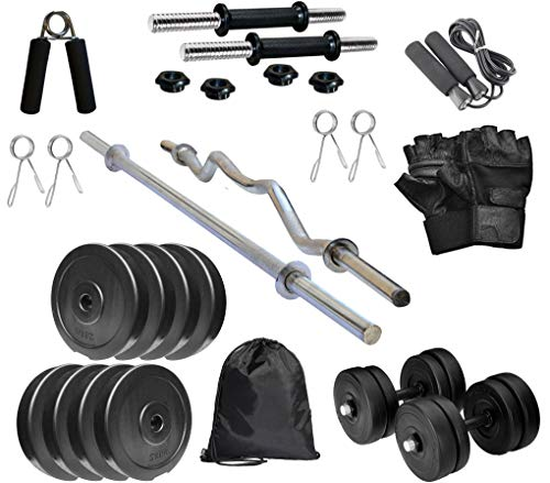 RV Home Gym Combo, Home Gym Set, Gym Equipment, PVC Plates Gym Combo with 3Ft Curl Bar, 5Ft Straight Bar, Dumbbell Rods, Gym Bag and Accessories